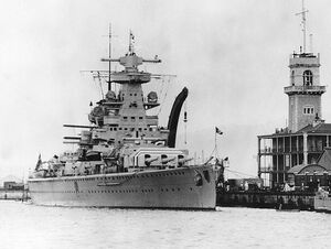 Admiral Scheer at Gibraltar in 1936