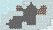Stone patch in snowy area