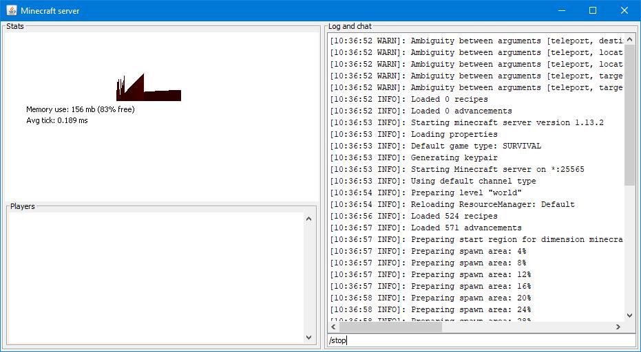 Die Server-Konsole der offiziellen Server-Software