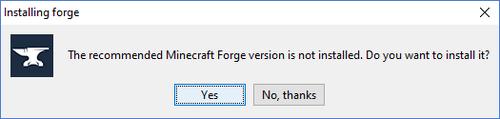 Hier wird nachgefragt, ob ihr die empfohlene Forge-Version haben wollt.