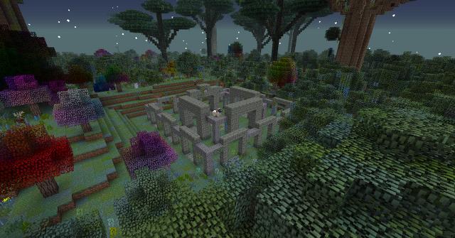 Ein Verzauberter Wald, im Fokus steht die Ruine des Quest-Widders