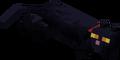 Gato Negro con collar rojo recostándose.png