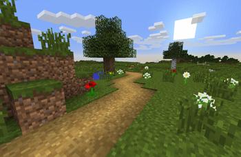 Chemin d'herbe dans le paysage.