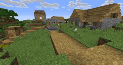 Un chemin d'herbe généré dans un village.