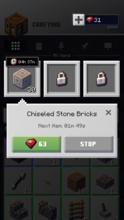 Speed up crafting with currency.png