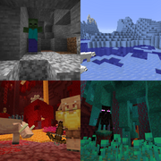 Most monsters are found in dark areas such as caves, while most animals are found commonly in bright light levels. Most other mobs are also found in different biomes/structures.