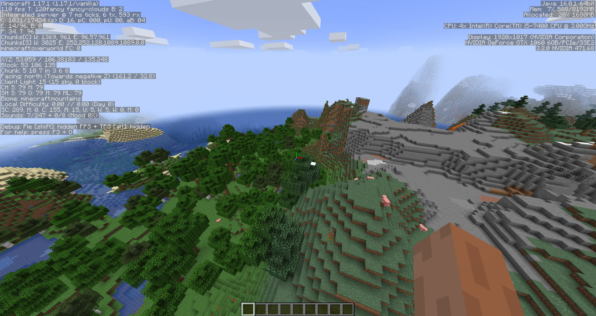 example of minecraft debugging info
