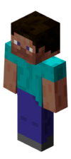 """The alternate default player skin, """"Alex"""", as it appears in-game."""