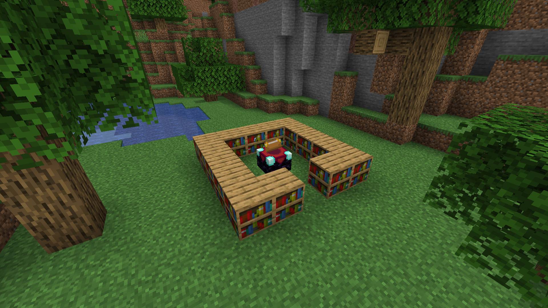 Number Of Bookshelves Around Enchanting Table Survival Mode - Enchantment table bookshelves