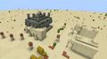 A jungle pyramid generated in a desert village