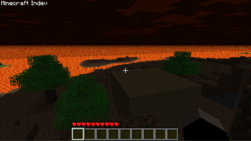 Hell map theme. No grass, the ocean is lava, always night.