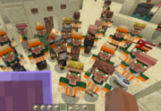 A lot of villagers staring at the player.