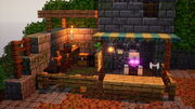 An image of the Blacksmith after he has moved into the player's camp.