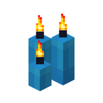 Three Light Blue Candles (lit).png