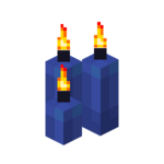 Three Blue Candles (lit).png