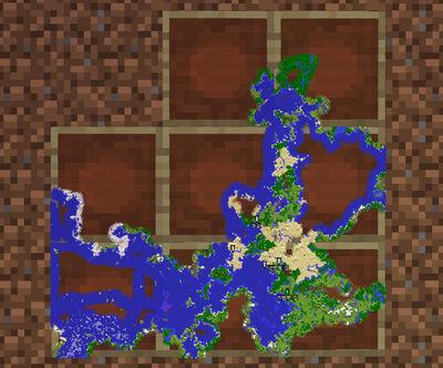 여러장의 지도를 액자를 이용하여 배열한 모습. 탐사가 끝난 곳은 액자 테투리가 보이지 않는다.