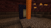 Placing wood behind the portal frame and a lava stream coming down on the other will relight the portal when any wood catches on fire.