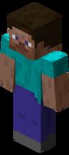 """De standaard speler skin, """"Steve"""", zoals deze in het spel verschijnt."""