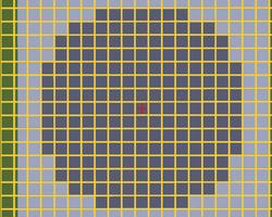На малюнку видно радіус поновлення блоків при знаходженні гравця на місці червоної позначки. Жовтим відзначені кордону чанків.