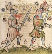 Cod. Pal. germ. 359, fol. 049r - Rosengarten zu Worms, Zweikampf