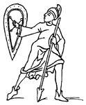 Wurfspießträger 9.Jh. handbuchderwaff@Boeheim, Fig.355