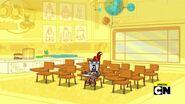 Camillot looks around empty classroom