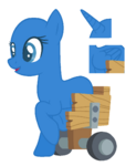Pony in a wheelchair base