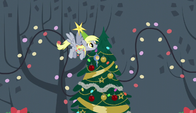 Derpy about to hang an ornament S6E8