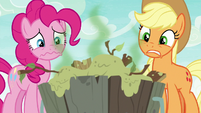Pinkie and Applejack look at Yona's stew S9E7