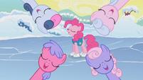 Ponies singing around Pinkie Pie S1E11