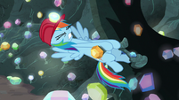 Rainbow Dash trying to pull the lever S8E17