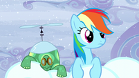 Rainbow sees Pegasus ponies transporting clouds S5E5