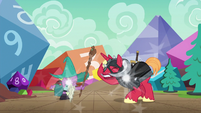 Spike and Big Mac appear in the game world S6E17