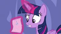 Twilight Sparkle reads Rarity's note S6E22