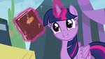 Twilight with book she got the day she met Pinkie S4E22