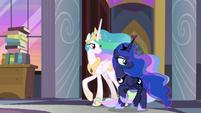 Celestia and Luna surprised by Twilight's room S9E17