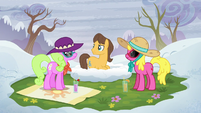 Cherry Berry, Daisy, and Caramel on a grassy spot S5E5
