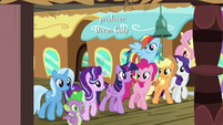 Mane Six, Starlight, Trixie, and Spike at the train station S7E2