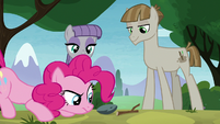 Pinkie Pie looking at Boulder and Twiggy S8E3