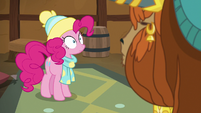Pinkie looking wide-eyed at Prince Rutherford MLPBGE