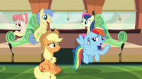 Rainbow --none of that sounds like Pinkie or Fluttershy-- S6E18