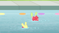 The bottom halves of Apple Bloom and Granny Smith shown S4E20