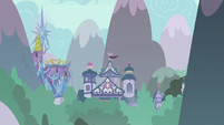 Twilight's castle and school in the distance S8E9