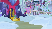Twilight and Spike leaving the castle MLPBGE