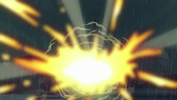Fire bursting from the Dragon Lord's cave S8E16