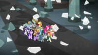 Mane Six and Pillars' magic barrier shatters S7E26