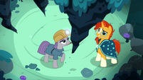 Maud Pie taps the stalactite with her pickaxe S7E24