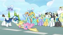 Pink Pegasus being dragged away S3E7