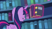 Twilight Sparkle shelving her books S6E19
