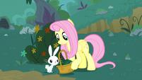 Angel puts flower in Fluttershy's basket S8E18